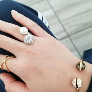 Silver Pave & Pearl Ring
